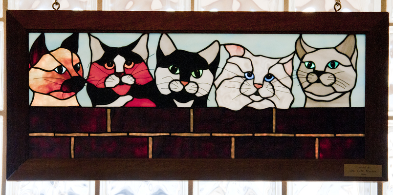 stained glass cats sm